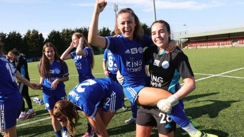 Hannah Cain (centre) left Everton after two years with the club and joined Leicester City in the summer